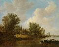 'A River Landscape with a Parish Church' by Jan van Goyen, 1651.jpg