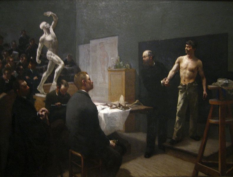 File:'The Anatomy Class at the Ecole des Beaux Arts', oil on canvas painting by François Sallé, 1888, Art Gallery of New South Wales.jpg