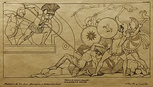 Neoclassicism - Print of a drawing by John Flaxman of a scene in Homer's Iliad, 1795