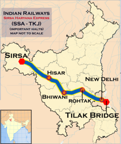 (Sirsa - Tilak Bridge) Express route map