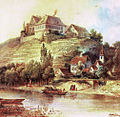 Ölgemälde von F. Peters 1851 Burg und Burgweiler Klingenberg.jpg