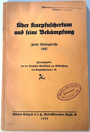 Deutsche Gesellschaft zur Bekämpfung des Kurpfuschertums - On Quackery and How To Fight It (1929), a book published by the DGBK.