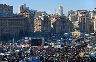 2014 Ukrainian revolution - Crowds of protesters at a mass rally on Independence Square in Kiev.