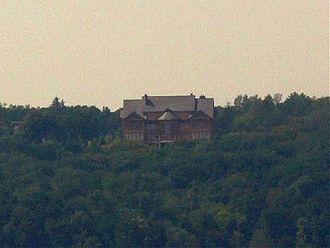 "Mezhyhirya Monastery - View of former President Yanukovych's ""Honka"" club house on the territory of the former monastery."