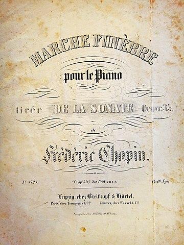 Нотная обложка Траурного (похоронного) марша Фредерика Шопена, выпущенного впервые как отдельное произведение под этим названием. Брейткопф и Гертель, Лейпциг, 1854 (печатная доска Breitkopf & Härtel №8728)