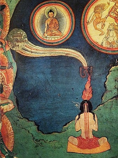 A section of the Northern wall mural at the Lukhang Temple depicting both Tummo (Skt. Candali) and Phowa (transference of consciousness), two of the Six Dharmas of Naropa Praktika tummo.jpg