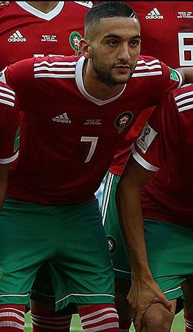 940fbc1f39aa50 Hakim Ziyech avec le Maroc contre l'Iran en 2018.
