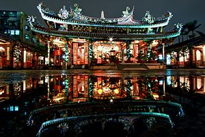 Chinese temple - Night view of the Dalongdong Baoan Temple in Taipei, Taiwan.