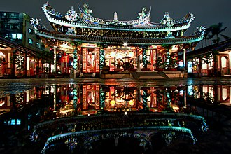 Chinese temple architecture - Night view of the Dalongdong Baoan Temple in Taipei, Taiwan.
