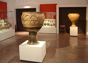 Geometric art - The Hirschfeld Krater, mid-8th century BC, from the late Geometric period, depicting ekphora, the act of carrying a body to its grave. National Archaeological Museum, Athens