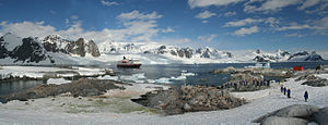 Petermann Island - Panorama - penguin colonies, cruise ship and tourists, Petermann Island
