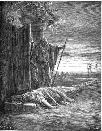 Battle of Gibeah - The Israelite discovers his concubine, dead on his doorstep – by Gustave Doré, Circa 1880