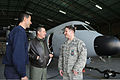 110126-F-DT303-243 - A U.S. Airman, right, talks to Portuguese Air Force Master Sgt. Paulo Faustino, center, and a Portuguese firefighter about the C-295 Persuader aircraft inside an aircraft hangar at Lajes Field.jpg