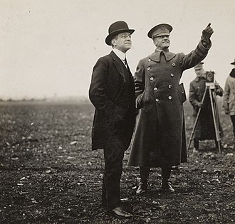 Benjamin Foulois - Benjamin Foulois with Secretary of War Newton D. Baker at the Issoudun Aerodrome in February 1918.