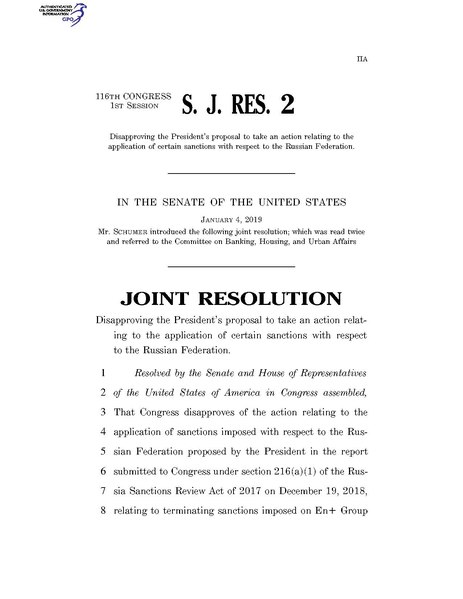 File:116th United States Congress S.J.Res. 002 (1st session) - A joint resolution disapproving the President's proposal to take an action relating to the application of certain sanctions with A - Introduced in Senate.pdf
