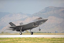 An F-35A Lightning II of the 388th Fighter Wing touches down at Hill Air Force Base during 2015.