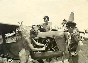 No. 16 Air Observation Post Flight RAAF - No. 16 AOP Flight groundcrew working on an aircraft prior to an artillery spotting flight
