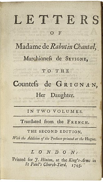 Marie de Rabutin-Chantal, marquise de Sévigné - The title page of a 1745 English edition of Mme de Sévigné's letters.