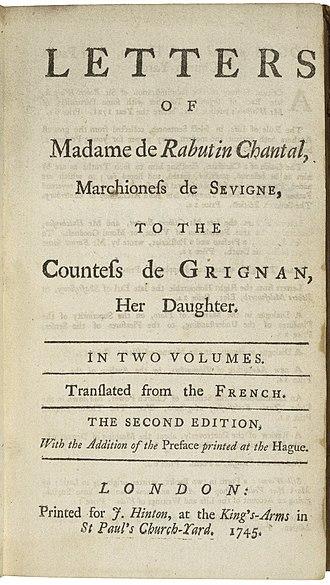 Marie de Rabutin-Chantal, marquise de Sévigné - The title page of a 1745 English edition of Mme de Sévigné's letters.