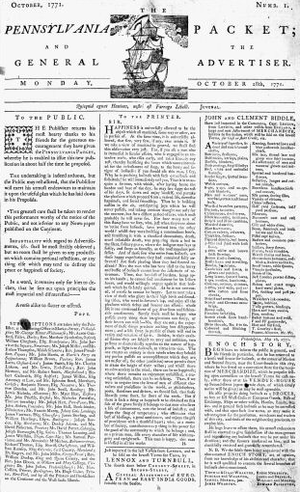 Pennsylvania Packet - Image: 1771 Pennsylvania Packet Oct 28