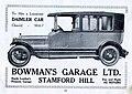 1920s advert Bowman's Garage Ltd, Stamford Hill N16.jpg
