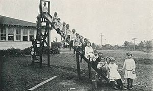 Playground slide - Schoolchildren on a slide at the East Texas State Normal College Training School in 1921
