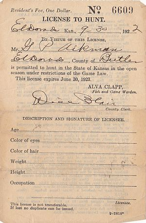 English: A 1922 State of Kansas hunting license