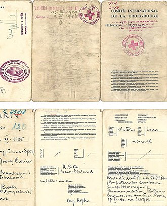 Ratlines (World War II aftermath) - 1947 Rome issued ICRC travel document to a Croatian escaping Europe for Argentina.