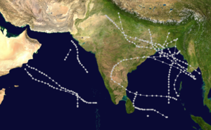 1963 North Indian Ocean cyclone season - Image: 1963 North Indian Ocean cyclone season summary map