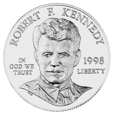 United States dollar coin featuring alumnus Robert F. Kennedy, assassinated after winning California in the 1968 Democratic Party presidential primaries 1998 RFK Silver Dollar Obverse.png