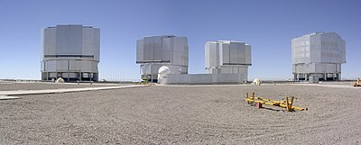 Paranal Observatory, home of the Very Large Telescope, a cluster of four large (8.2 meter diameter) telescopes.