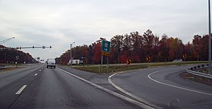 Accokeek, Maryland - A picture from a vehicle located on MD 210, with an exit to MD 228 located on the right