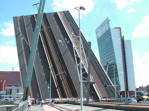 Rotterdam's Erasmus Bridge in the open position (photo by Ziko van Dijk, via Wikimedia Commons)