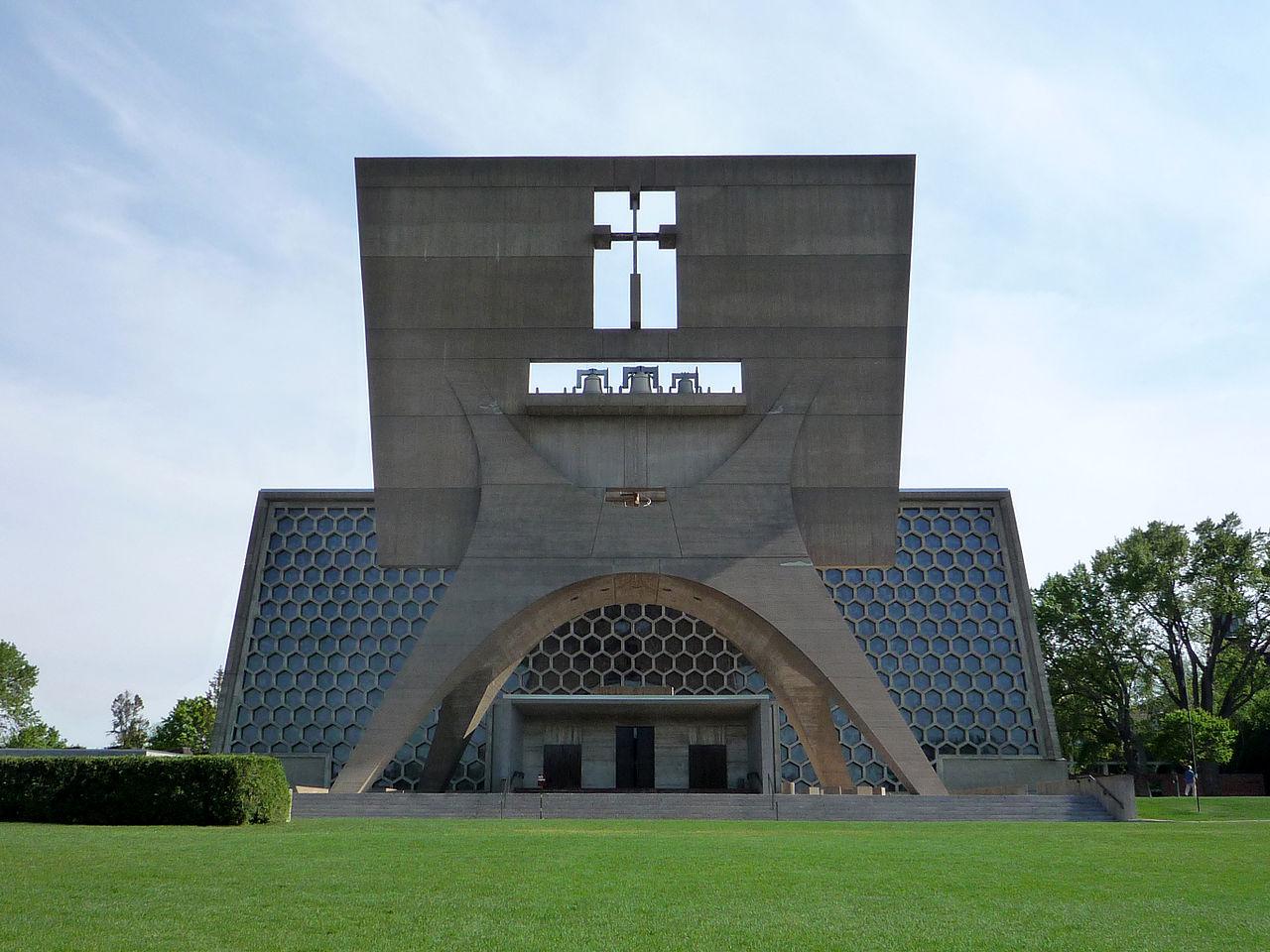 Eglise de 'lAbbaye de Collegeville, réalisée par l'architecte brutaliste Marcel Breuer