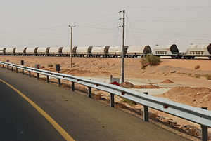 Transport in Jordan - A Phosphate train passing near the Desert Highway