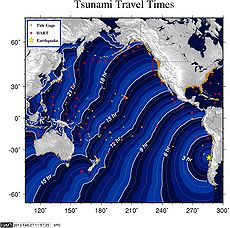 Travel time projection of the 2010 Chile earthquake tsunami. Image: NOAA.