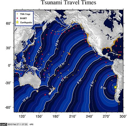Estimated time needed for tsunami waves to reach certain points of the Pacific Ocean