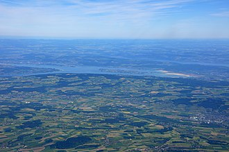 Untersee (Lake Constance) - View from an aeroplane above Rickenbach (CH) of the Untersee and the island of Reichenau (D) with Lake Überlingen (D), the northwestern part of the Obersee (D/CH/A) behind.