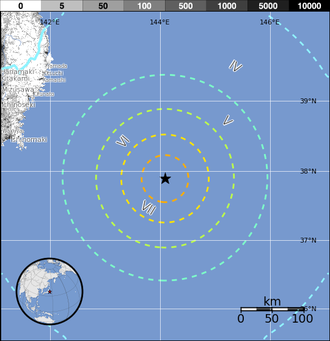 2012 Kamaishi earthquake - Image: 2012 M7 3 Kamaishi Japan Map