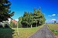 2012 Powiat cieszyński, Strumień, Ulica Olszyna, Tablica trasy rowerowej R-4 (01).jpg