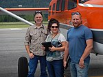 2016. L-R Roy Mask (Region 2), Amanda Grady (New Mexico, Region 3) and Chad Nelson (Region 4) with Kodiak. Western States fly-in. Sandpoint, Idaho. (36524641756).jpg