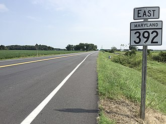 Maryland Route 392 - View east along MD 392 in East New Market