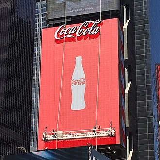 Coca-Cola sign - The current Times Square Coca-Cola sign undergoing repairs.