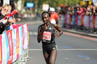 Marathon world record progression - Mary Keitany during her world record (Women's only race) in the 2017 London Marathon with 2:17:01.