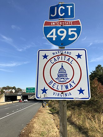Interstate 495 (Capital Beltway) - I-495/Capital Beltway signage in Virginia