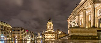 View of Gendarmenmarkt, with the Konzerthaus Berlin to the right and the German Church in the back 20190113 Berlin 0510.jpg