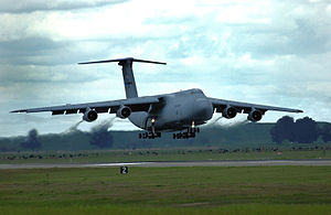 21st Airlift Squadron - 21st Airlift Squadron Lockheed C-5B Galaxy, 87-0037, returns from a training flight 31 March 2006. The event marked the final C-5 flight for the 21st Airlift Squadron.