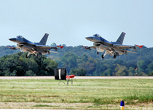 301st Operations Group - 457th Fighter Squadron F-16s taking off from Carswell Field