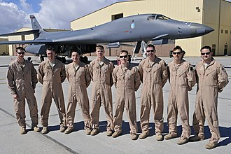 34th Bomb Squadron - Aircrews from the 34th Bomb Squadron and 28th Operations Support Squadron stand in front of B-1B Lancer 86-0095 at Ellsworth Air Force Base, S.D., 30 March 2011.