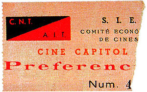 Revolutionary Catalonia - Cinema ticket from a venue run by the CNT.